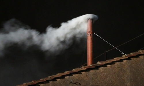 White smoke is seen from the roof of the Sistine Chapel indicating that the College of Cardinals have elected a new Pope. Latest on our live blog here. Photograph: Peter Macdiarmid/Getty Images