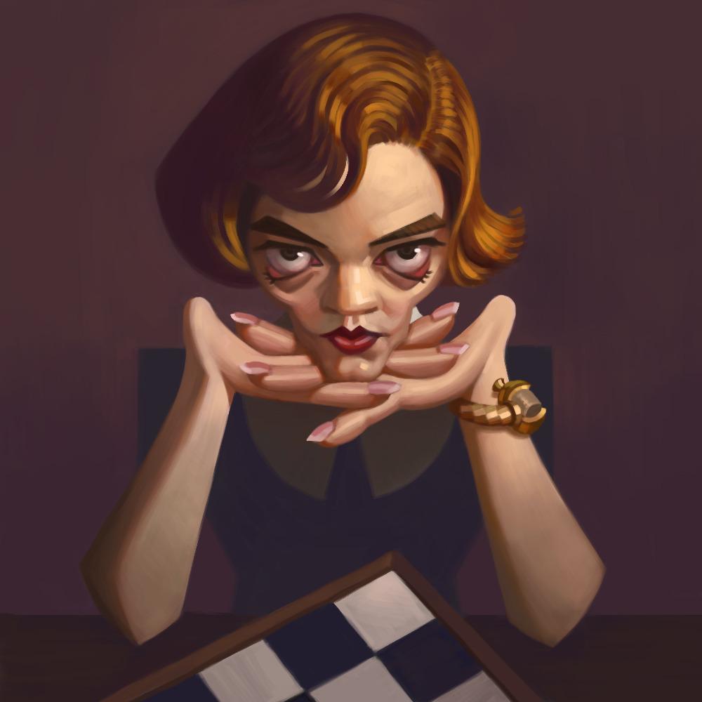 Gambit-Shmambit #art#digital painting#drawing#photoshop#portrait#caricature#queens gambit#chess#цифровая живопись#рисунок#портрет#карикатура#beth harmon
