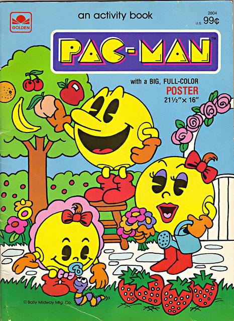 tokka:  GOLDEN BOOKS :: PAC-MAN activity book with a BIG, FULL COLOR POSTER (( 1983 )) on Flickr. Via Flickr:** View LARGE On Black ** ○ ○