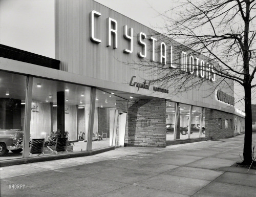 bygoneamericana:  Crystal Motors, business at 5901 Bay Parkway. Brooklyn, 1950. By Samuel H. Gottscho