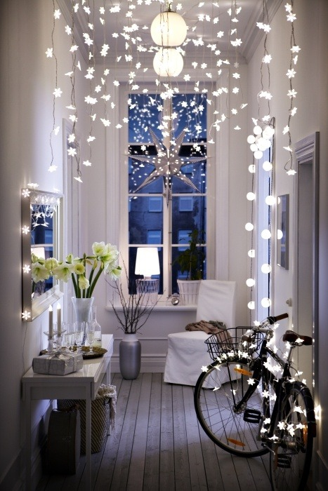 thebowerbirds:  Source: Ikea Family Live I just love love love this! Fairy lights are amazing at anytime of year but especially at Christmas! Perfect hallway :)