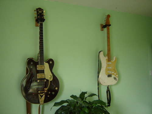"Gretsch Country Gentleman and Eternal S Type. ""My 1964 Gretsch Country Gentleman next to ""Ted"" my new 2012 Eternal S Type 50's style, made by the genius that is dave walsh at www.eternal-guitars.com"" - Micah Stafford Got to love the Eternal Custom built but that Gretsch is the absolute dream!"