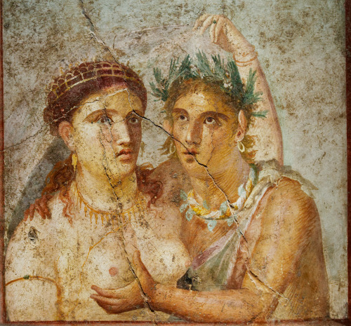 Satyr and maenad, ancient Roman fresco from Pompeii From the Casa di Caecilius Jucundus in Pompeii (V, 1, 26) Museo Archeologico (Naples)