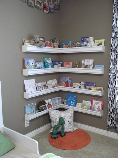diyhomeimprove:  Love this idea for a kids room…..plastic rain gutters hung to make a reading area! Found at: http://pinterest.com/lwaligo/organization/