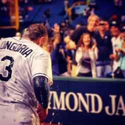 Check out our #raysbaseball #picoftheday ….Evan Longoria getting drenched after his walk-off home run last week! LIKE this picture to help cheer on the #TampaBayRays as they battle the Blue Jays today at 1:07 PM! #raysbaseball #welcomehome