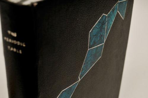 kevinsheby:  Check out my first complete fine binding. Full black goat skin, with hand-dyed goat skin craquele onlays made by the binder (ME!). With palladium tooling.