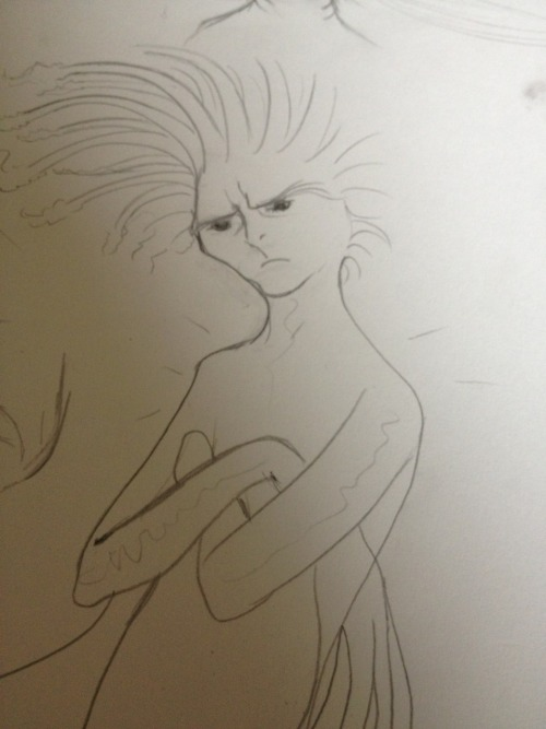 More sketching: trying to define the look of the Witch in my mermaid comic.