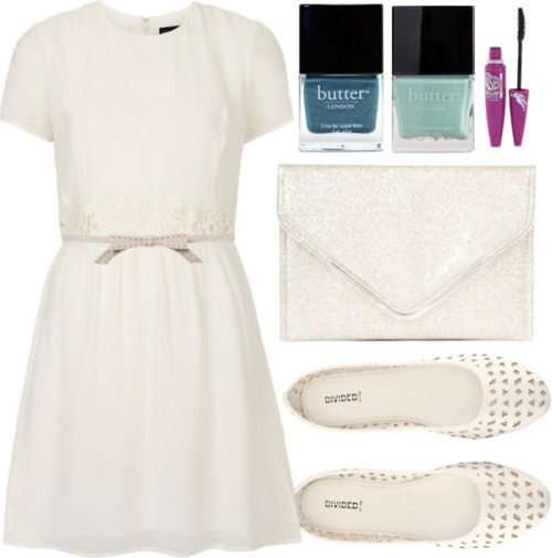 White Party by ieleanorcalderstyle featuring a macrame dress  Topshop macrame dress / H&M skimmer shoes, $15 / BCBGeneration vegan handbag / Topshop fake belt / Maybelline , $23 / Butter London , $16 / Butter London matte nail polish, $18