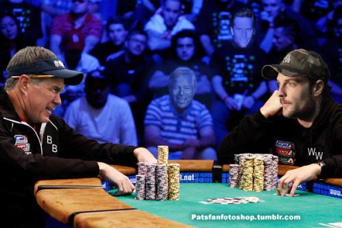 Bill Belichick and the Patriots vs Wes Welker.  Who wins this poker match?