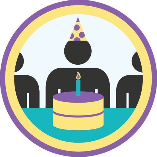 lifescouts:  Lifescouts: Birthday Party Badge If you have this badge, reblog it and share your story! Look through the notes to read other people's stories. Click here to buy this badge physically (ships worldwide). Lifescouts is a badge-collecting community of people who share their real-world experiences.  cake js