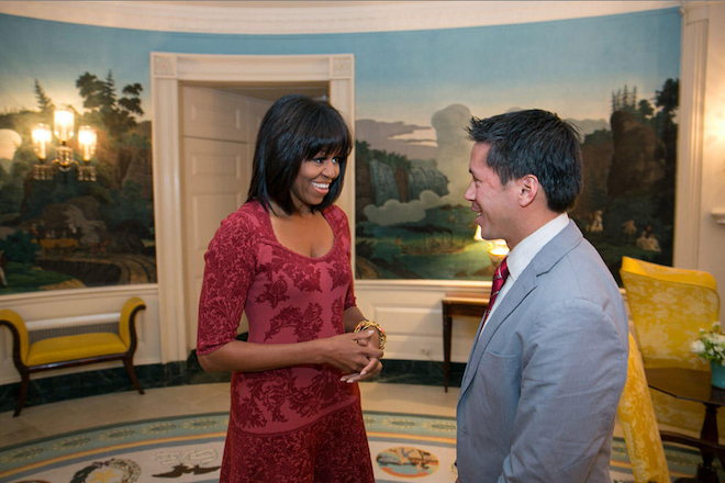 "tpmmedia:  Michelle Obama Sports A New Haircut First Lady Michelle Obama sported a new haircut on Thursday, her 49th birthday, while meeting with one of eight Citizen Co-Chairs for the Presidential Inaugural Committee. David Hall, seen above, was on track to receive his pilot license from the Air Force until he dis-enrolled for ""homosexual conduct"" in 2002 after one of his fellow cadets outed him for being gay, per the PIC. Since then, Hall fought for Don't Ask Don't Tell repeal, which President Obama completed in July of 2011.  bangs, y'all!"