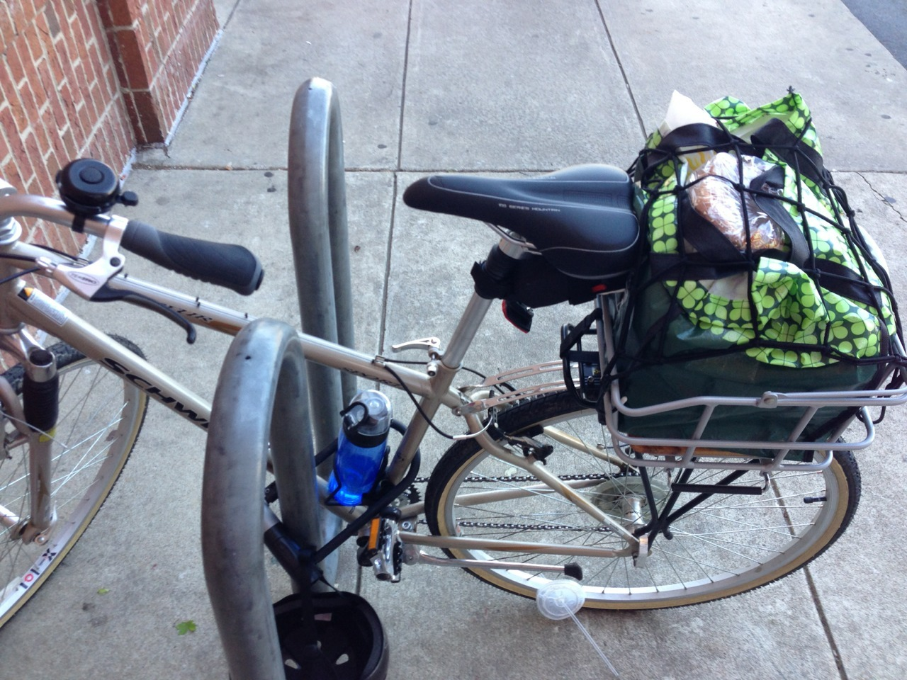 First time biking to get Groceries. EAV to Kroger Edgewood via Clifton, Hosea Williams, Whitefoord, and Hardee. Pretty challenging for me. I think it was safer than trying to go to the Publix on Glenwood. Made it back with everything intact, but the bread a little smushed. Level up!   (I feel i should clarify that that's not my fast food cup top by my wheel.)