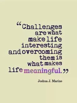 Challenges are what make life interesting…