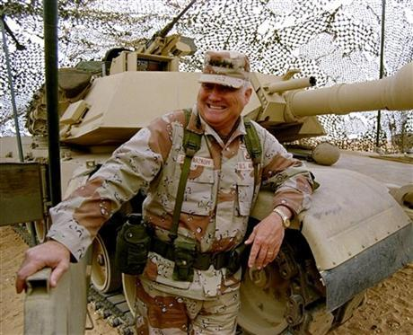 US official: Retired Gen. H. Norman Schwarzkopf has died AP: A U.S. official tells Associated Press that retired Gen. H. Norman Schwarzkopf has died in Tampa, Florida. He was 78. Schwarzkopf commanded the U.S.-led international coalition that drove Saddam Hussein's forces out of Kuwait in 1991. He lived in retirement in Tampa, where he had served in his last military assignment as commander-in-chief of U.S. Central Command. Photo: In this Jan. 12, 1991 file photo, Gen. H. Norman Schwarzkopf stands at ease with his tank troops during Operation Desert Storm in Saudi Arabia. (AP Photo/Bob Daugherty, File)