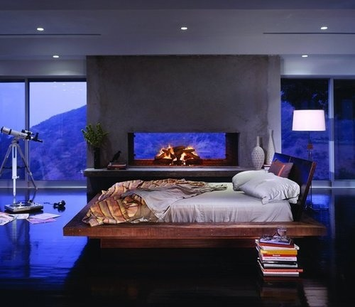 welcome-home-darling:  a modern style bedroom with the perfectly designed fireplace.