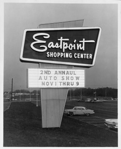 Eastpoint Shopping CenterBaltimore, MarylandNot datedCronhardt & Sons8x10 inch gelatin silver printTriangle Sign Company CollectionBaltimore City Life Museum CollectionMaryland Historical Society1982.2.18 Google Maps Street View of area today:  View Larger Map