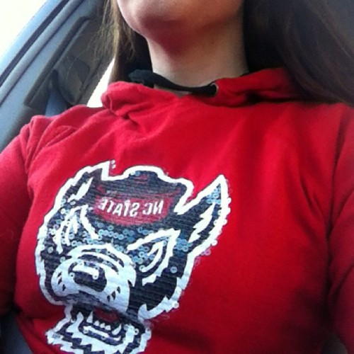 Casual Friday + acc tournament = sequins covered wolf. #gopack