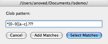 lselect is an AppleScript that lets you select files in the Finder using shell glob syntax as you would to list files with ls.   Via RocketINK.