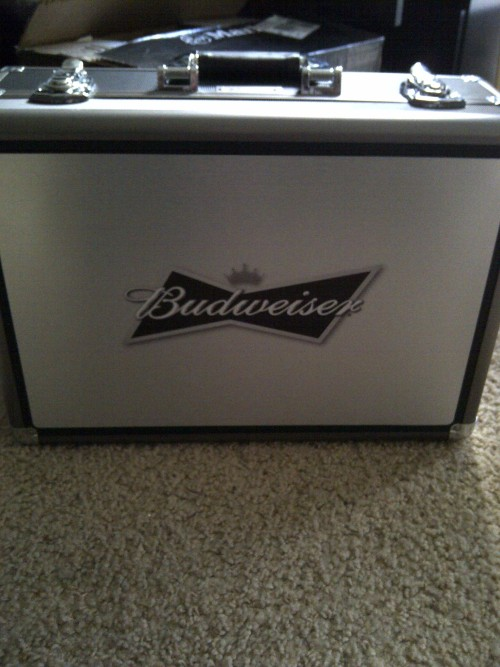 Bud just sent me this amazing suitcase. All this so they could send me 3 beers. I feel like it would've been cheaper to fly me out to the brewery and drink it there.