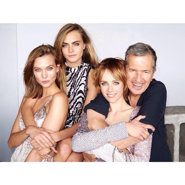 Karlie, Cara, Edie and Mario shooting for US Vogue.