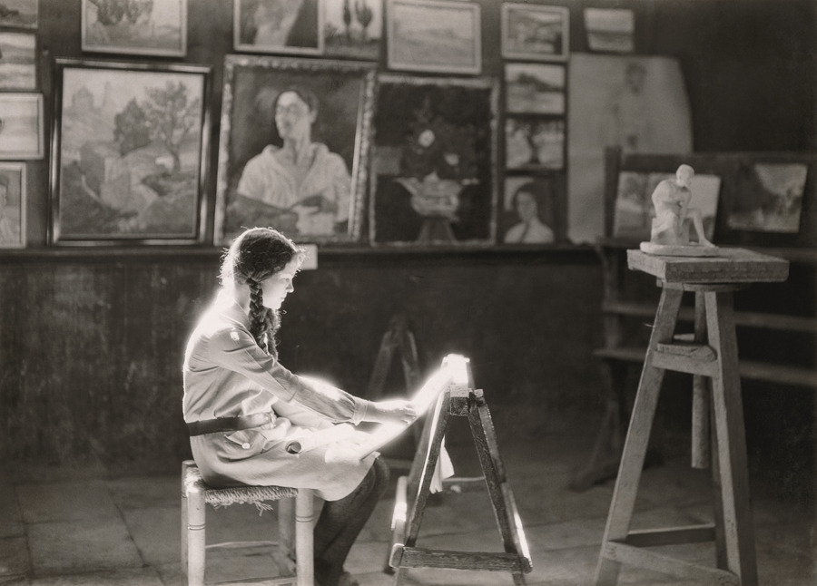 A student works at the Bezalel School of Arts and Crafts in Jerusalem, 1927.Photograph by Maynard Owen Williams, National Geographic