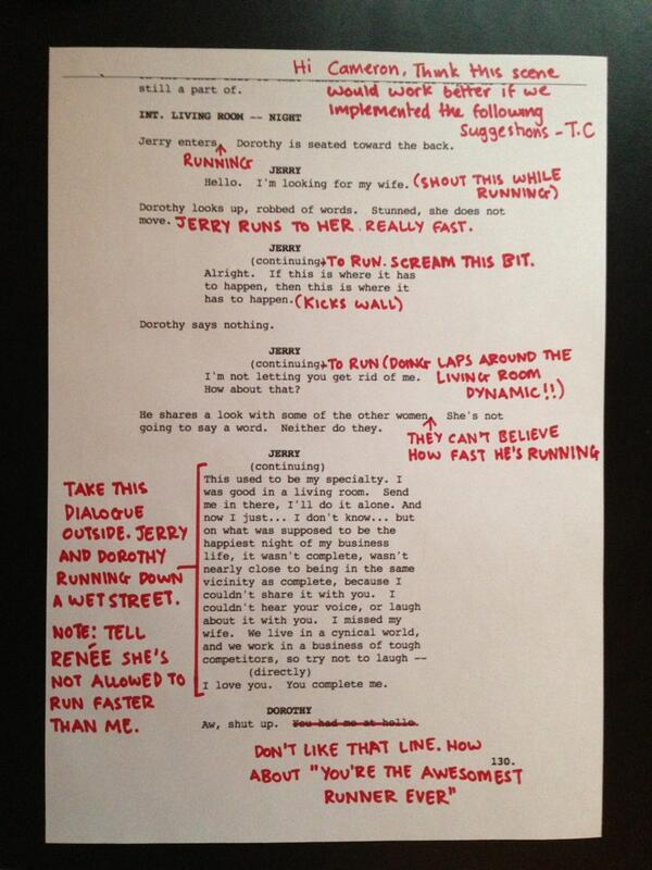 Tom Cruise - Tom Cruise is AWESOME. Here's an original script page from Jerry Maguire. With addition