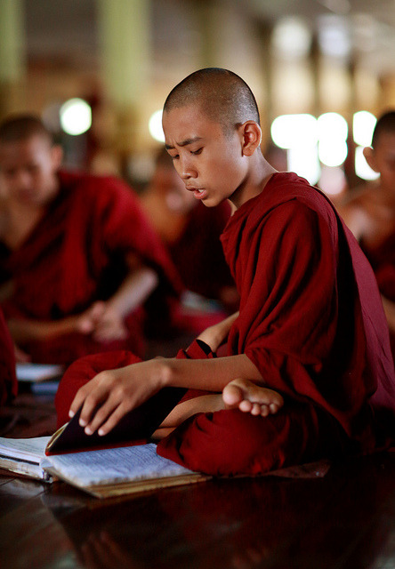 quietbystander:  Myanmar, monks and novices by Dietmar Temps on Flickr. Young novice studying in Insein Ywann Monastery, Yangon