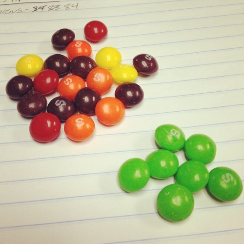 Green. Don't like the green ones :p #fmsphotoaday #day14 #skittles #candy #green #nomnom #sweets