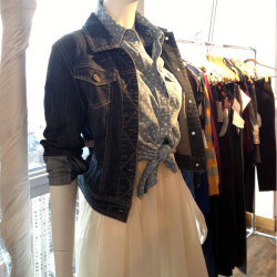 teenvogue:  Denim on denim at the Sears preview. Photographed by Julia Rubin.  Would you layer like this?