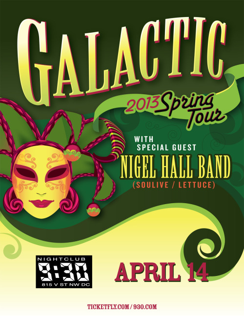PREVIEW: Galactic Get ready to shake your groove thang with Galactic! Galactic is a band synonymous with New Orleans jazz-funk just as much as New Orleans itself is synonymous with both said genres. No strangers to the club, Galactic's blistering, soulful sound reverberates through the club from start to stop, so be sure to bring your dancing shoes! Most recently, the band released a Carnival-inspired album, Carnivale Electricos, in 2012, showcasing their ever-impressive ability to meld genres while still keeping their homegrown, funky sound. As an added bonus, as if the night couldn't get any cooler, Corey Glover, also of Living Colour, will be joining Galactic on vocals!    -Samantha Turnbull