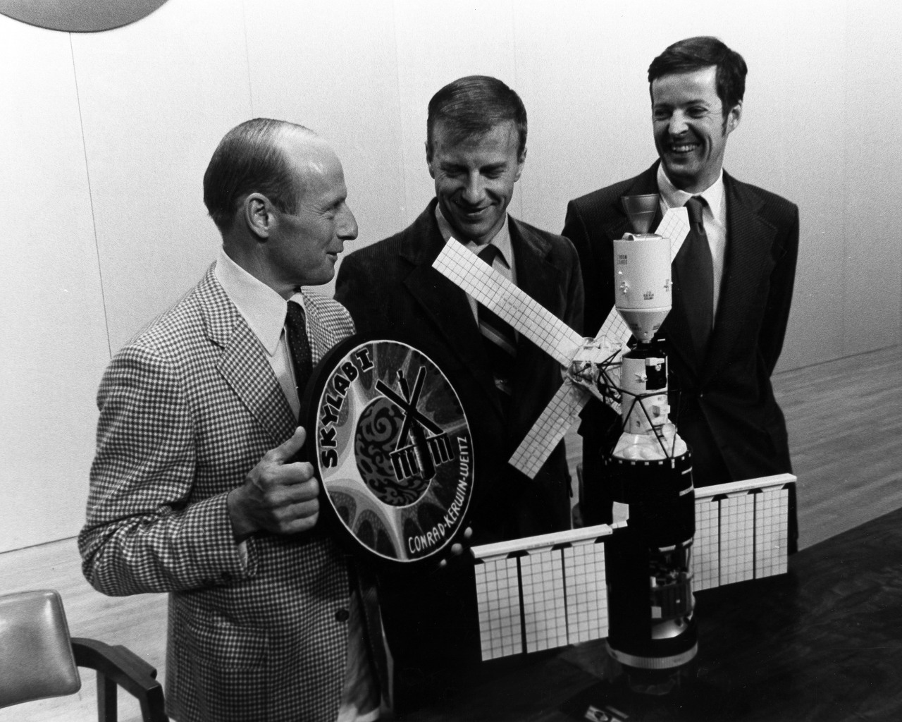 The Prime Crew for the NASA's First Manned Skylab Mission Meet the Press in a Final Briefing Prior to Isolation for the Coming Launch of Skylab II, 05/01/1973  Skylab, the first American space station, was launched unmanned on May 14, 1973.  This photo is of the prime crew for the first manned Skylab mission at a final briefing prior to isolation for the coming launch, which occurred on May 24, 1973.  The astronauts are (L. to R.) Charles Conrad Jr., Commander, Paul J. Weitz, Pilot, and Dr. Joseph P. Kerwin, Science Pilot.