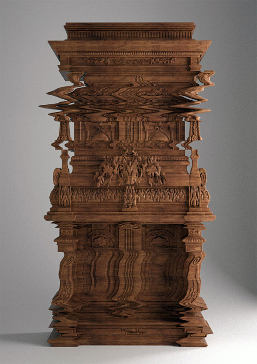ryannorth:  jennipoos:  This cabinet was created by architect Ferruccio Laviani to look like a wavy digital glitch!  via Colossal  whaaaaaat