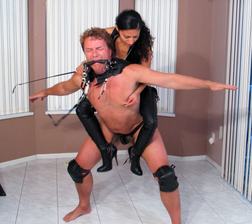 Maybe this will teach him to obey, Mistress Sara Akeera training HER pony.