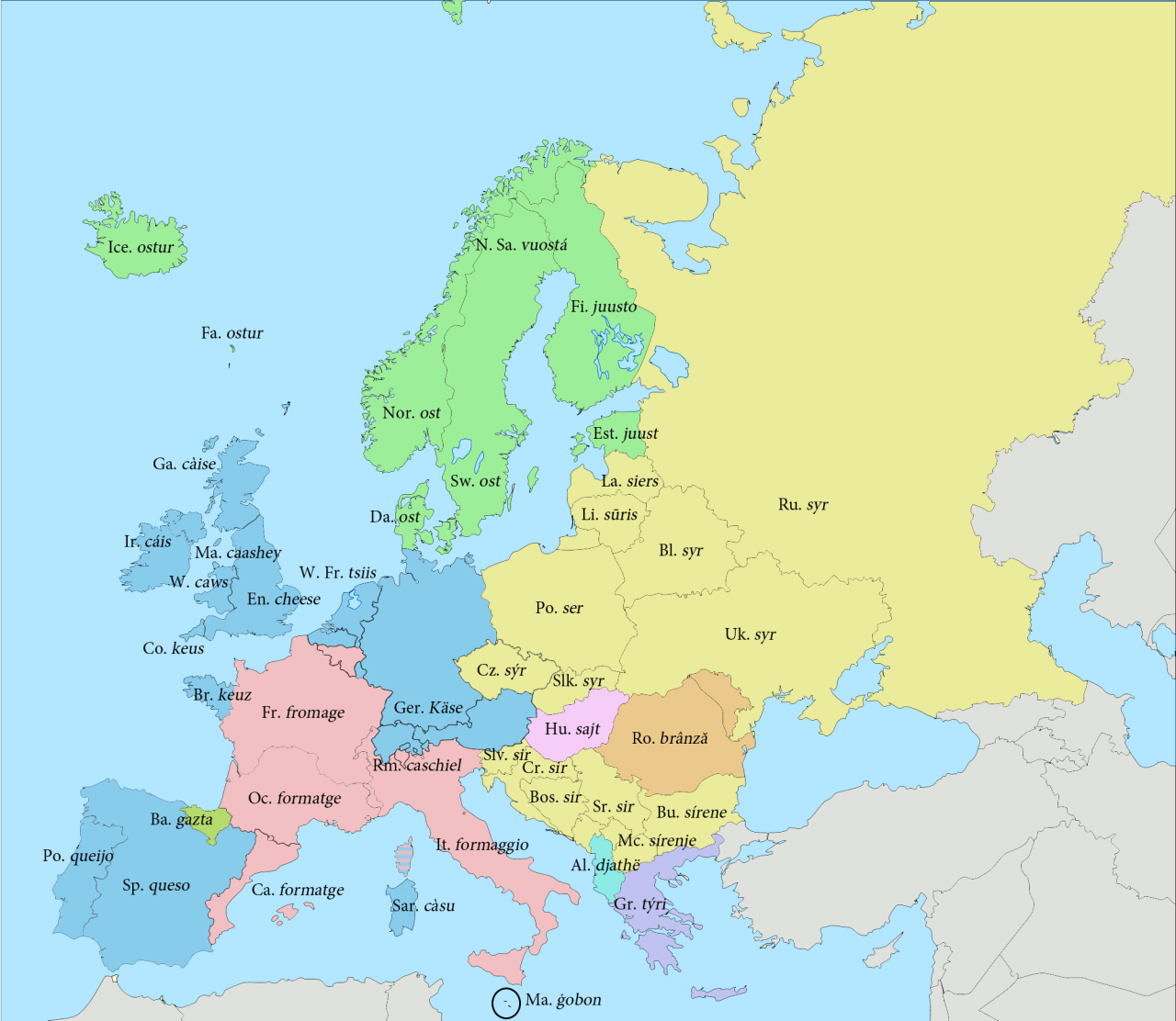 "fuckyeahcartography:  A map of words for ""cheese"" in some European languages based on their roots. Source  european cheese."