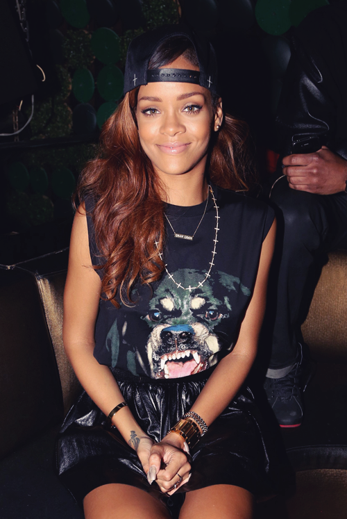 fashionpassionates:  Get the Rihanna look! Get the tee here: ROTTWEILER RHINESTONE TEE   q