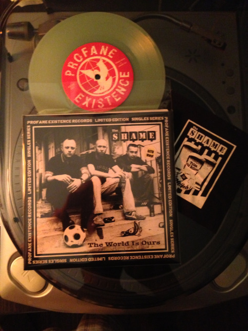 "I received my first Profane Existence single series 7"" last week. Glow in the dark vinyl and patch included with each one. This is from The Shame. Old guys rule!"