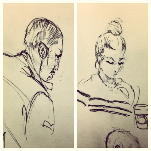 "Sketches of some folks at the school library. A guy came up to my table and said, ""Bro, you should be an animator. You know, for Disney or something. Pay the bills.""    If only dude, if only…"