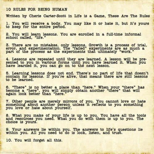 "whole-istic:  10 Rules for Being Human.Not ""Commandments."""