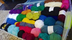 thesuzieblue:  I organized my yarn yesterday. :3 It's so beautiful. T_T (note that you can only see the top layer of yarn in this photo; there's more underneath. No I do not have a problem.)  Sorry I haven't posted/reblogged here in a while, ladies and gents! I haven't been up to much DW knitting lately even though I have plans to do so quite soon! For now, here's a picture of my recently reorganized yarn stash (this isn't even all of it; this is just what I have in my dorm. There's tons more at home!) Remember that you all can submit your Timey Wimey knits to this blog, as well!