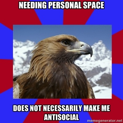[Caption - needing personal space / does not necessarily make me antisocial] This is another targeted meme, specifically to people who don't have a social phobia.  One thing that bugs me about not having social phobia is that whilst I can't be around large groups of people, small groups of maybe 2 - 6 are fine, even encouraged some of the time. I have no issues integrating with a small group of people I like, but it's when people crowd and crush me that I freak out. Just because I need personal space does not mean that I don't want you around. I just don't like hugs or hand shakes or things from people I don't know too well. — Sam