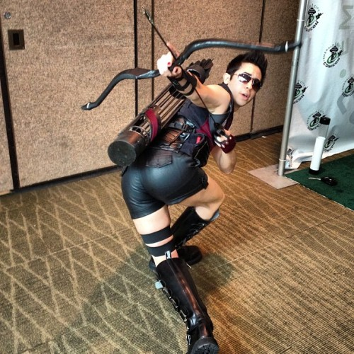 thingsfortwwings:  [Photo: A cosplayer dressed as Hawkeye Initiative Clint Barton; he has his ass to camera and is twisting his torso to aim behind himself] mjolkk:  crosswhenwegetthere:  #HawkeyeInitiative at #ECCC. He was our hero.  hey everybody, meet my badass friend matt who spent the whole day showing off his baaaaaaaaaaaaaad~ ass