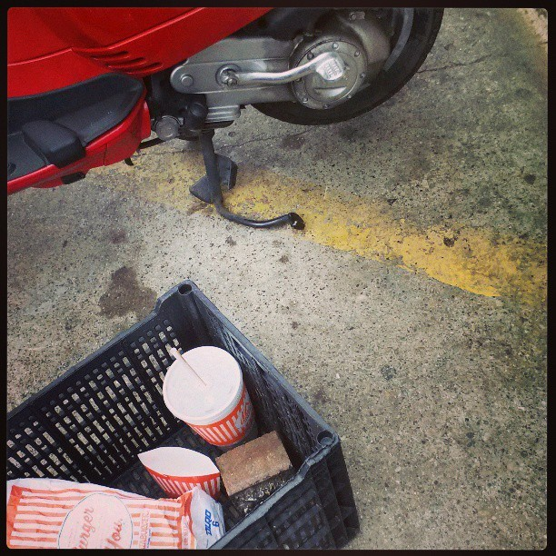 Italian scooter + Whataburger