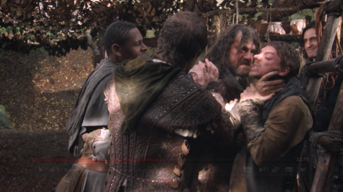 sirbitchfaceofgisborne:  I just happened to notice Guy in the background enjoying Robin and Co fighting amongst themselves. He's just like JOLLY GOOD SHOW LADS.