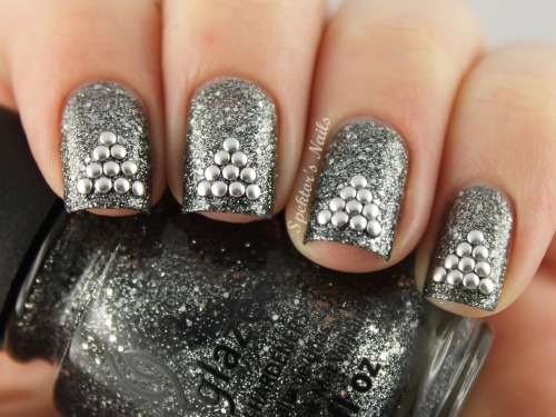 New Year's Eve Silver Studded Nails