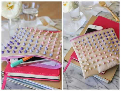 DIY Candy Colored Studded Bag Tutorial from Say Yes To Hoboken here. Don't these studs kind of remind you of those strips of dot candies? I would not make the pouch/bag because I am lazy and you can buy them so cheaply - and after all, you are just covering up the fabric with studs. I would also look into glue on studs and I'm sure certain people will tell me if they would be sturdy enough for a bag (or use puffy paint if you want a really easy DIY). First seen at Paper & Stitch here.