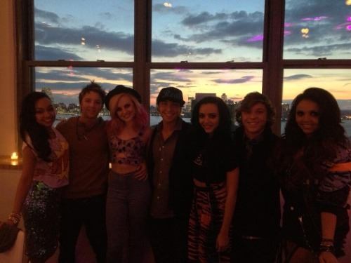Little Mix and Emblem Three. Leigh-Anne, Drew, Perrie, Wesley, Jade, Keaton and Jesy.