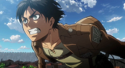 Eren Jaeger of 'Attack on Titan', a young man driven by his stress to fight against the Titans.