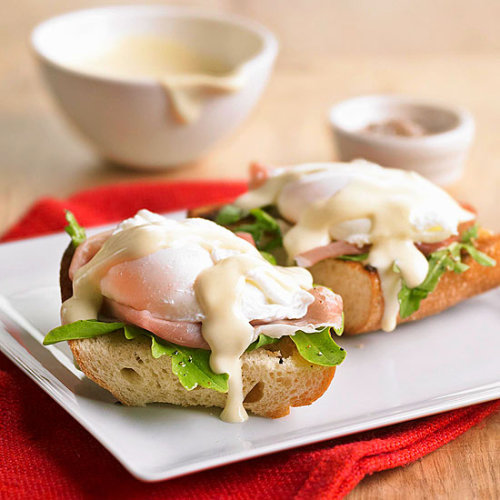Eggs Benedict: Creamy Hollandaise sauce and Canadian-style bacon top this classic breakfast.