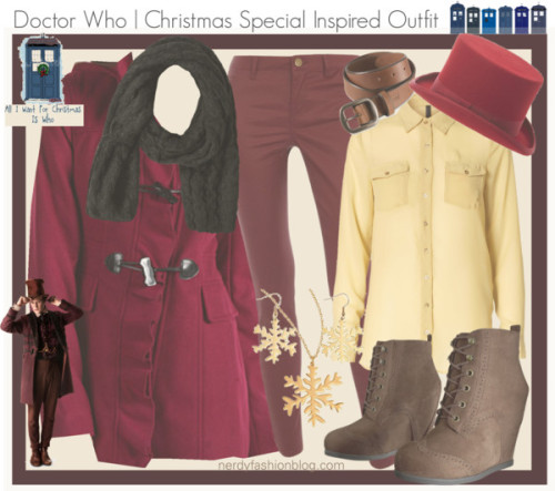 Doctor Who | The Doctor (11) - Christmas Special 2012 Inspired Outfit by chelsealauren10  Vero Moda , $26 / Kensie hooded coat / Dorothy Perkins , $32 / Lace up booties / Purple shawl, $29 / Belt / Doctor Who Tardis Christmas Card A more budget friendly approach!
