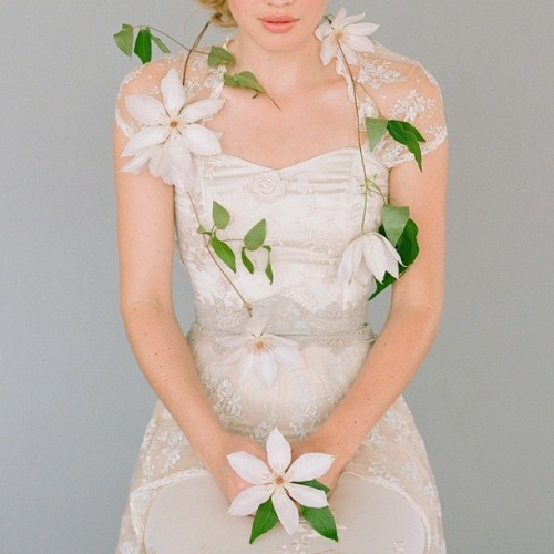 Claire Pettibone 'Hazel' wedding gown photographed by the amazing Elizabeth Messina (Floral: Kat Flower)  Click here to see more of Hazel —> http://bit.ly/YJLVqT
